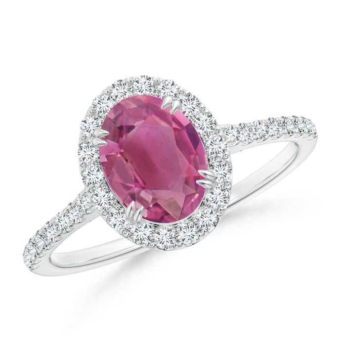 Angara Prong Set Oval Pink Tourmaline Halo Ring in 14K White Gold oeA1Lfl