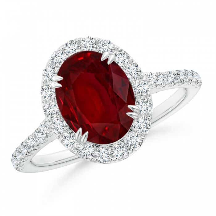 Angara Split Shank Pear Ruby and Diamond Double Halo Ring in 14K Rose Gold