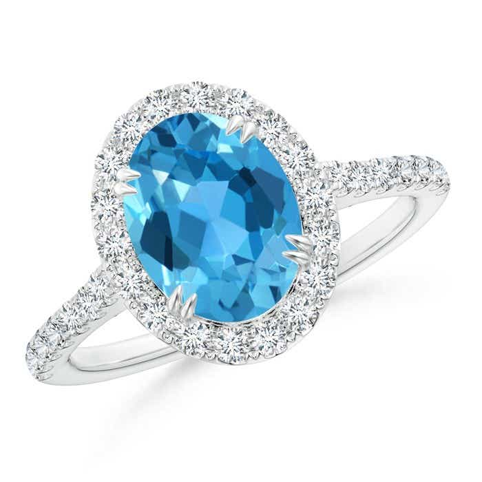 Angara Swiss Blue Topaz Diamond Halo Engagement Ring with Diamond EXtptsO5