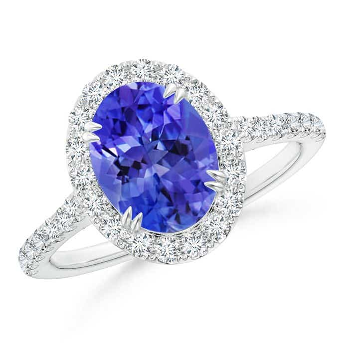 Angara Secured Claw Oval Tanzanite and Diamond Halo Ring in Yellow Gold 1ACtrMIN5O