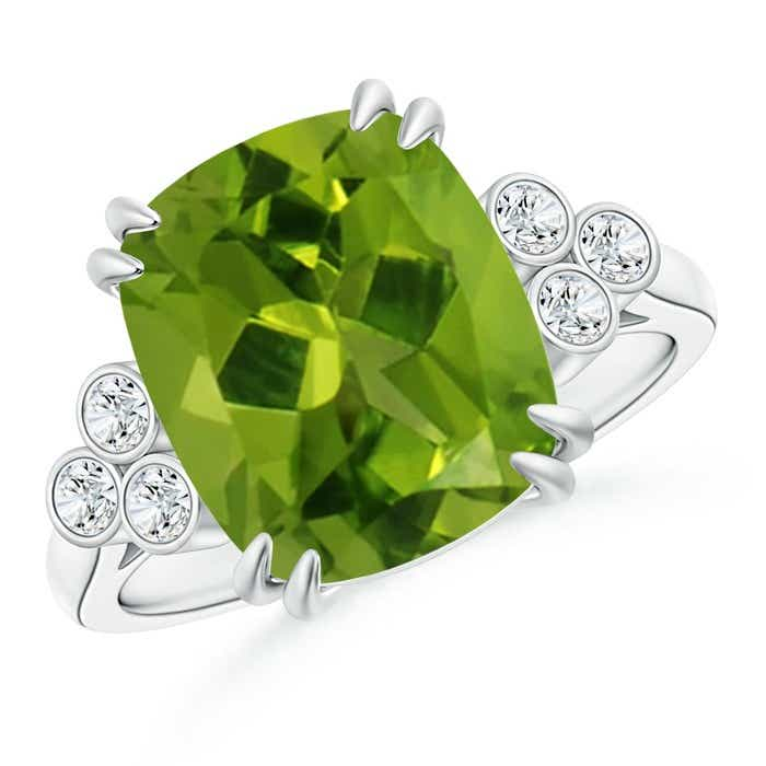 Angara Solitaire Double Claw Peridot Trinity Ring with Diamond odVKIkR4X7