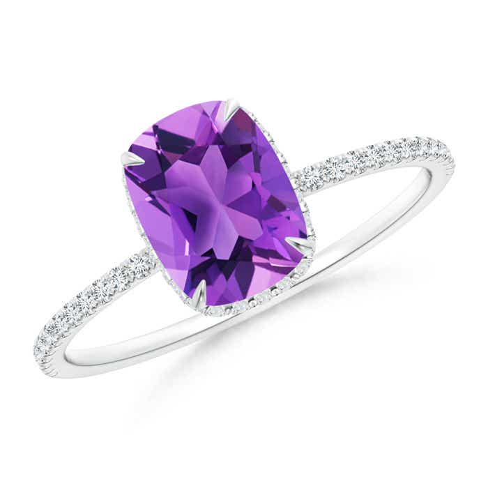 Angara Claw Cushion Amethyst Solitaire Vintage Ring in Platinum