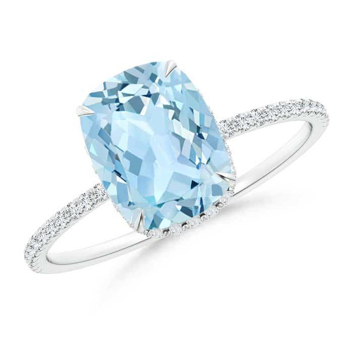 Angara Diamond Halo Double Claw Cushion Aquamarine Vintage Ring