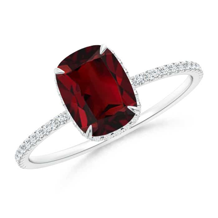 Angara Natural Garnet Solitaire Vintage Ring in Platinum 2oYBONG