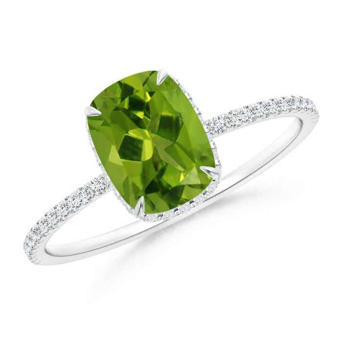 Angara Solitaire Cushion Peridot Criss Cross Ring with Diamonds XuUQofUm