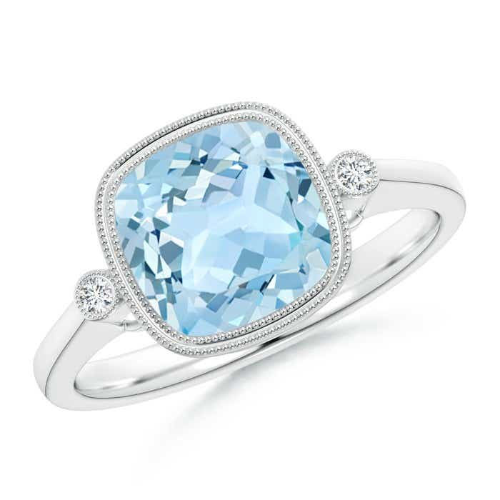 Angara Double Milgrain Outline Cushion Aquamarine Solitaire Ring in Rose Gold