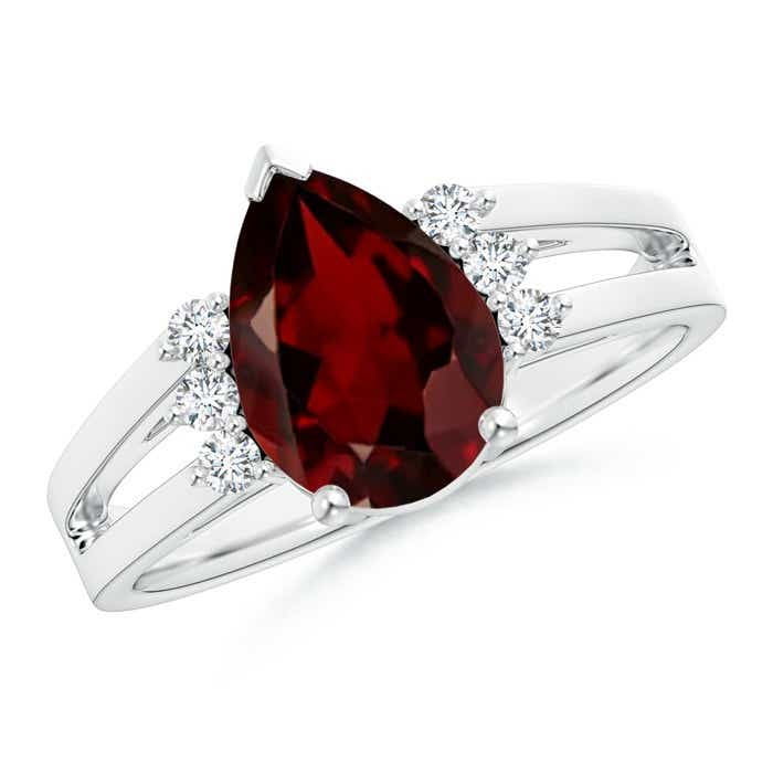 Angara Cushion and Round Ruby Ring with Round Diamond in 14k White Gold