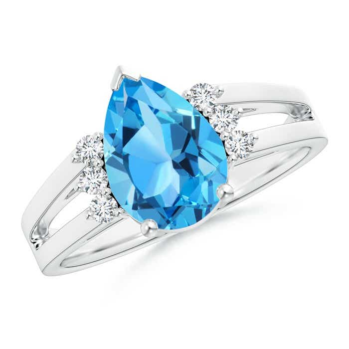 Angara Solitaire Pear Swiss Blue Topaz Ring With Triple Diamond Accents tmSC91