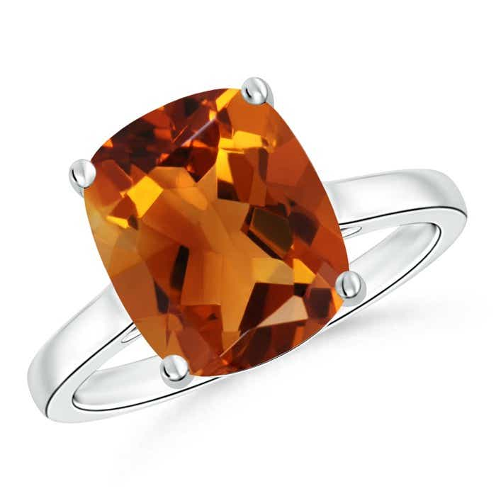 Angara Solitaire Cushion Citrine Ring in Yellow Gold vMRIWH