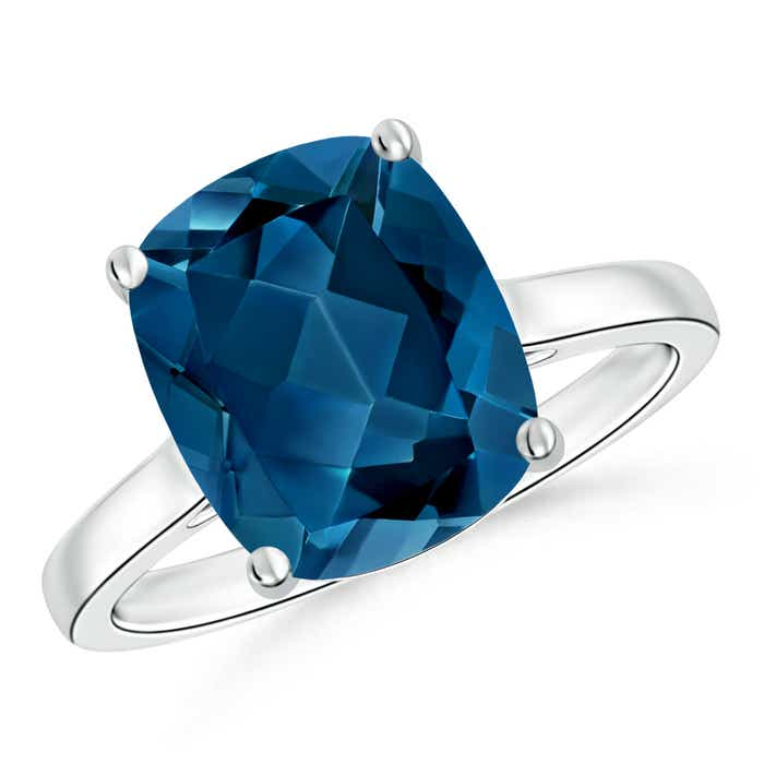 Angara Cushion London Blue Topaz Solitaire Ring with Diamonds 2AjgFl