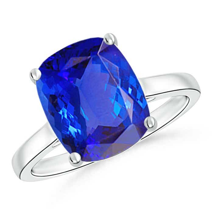 Angara Cocktail Ring with Cushion Tanzanite in Platinum