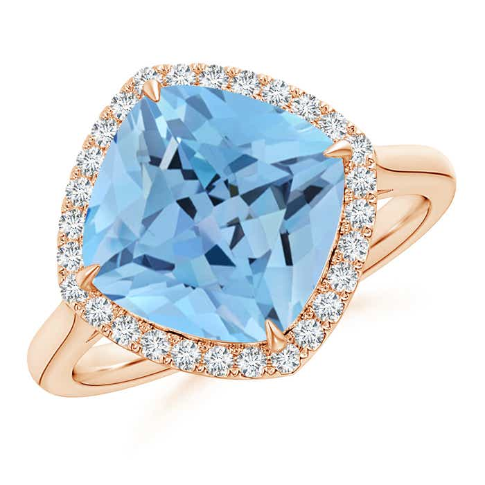 Angara Aquamarine Cocktail Ring in 18k White Gold UpWuc