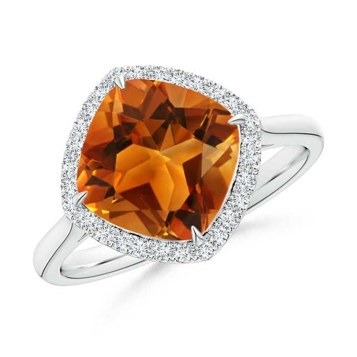 Angara Cushion Citrine Ring in 14k White Gold xRlNckLe1F
