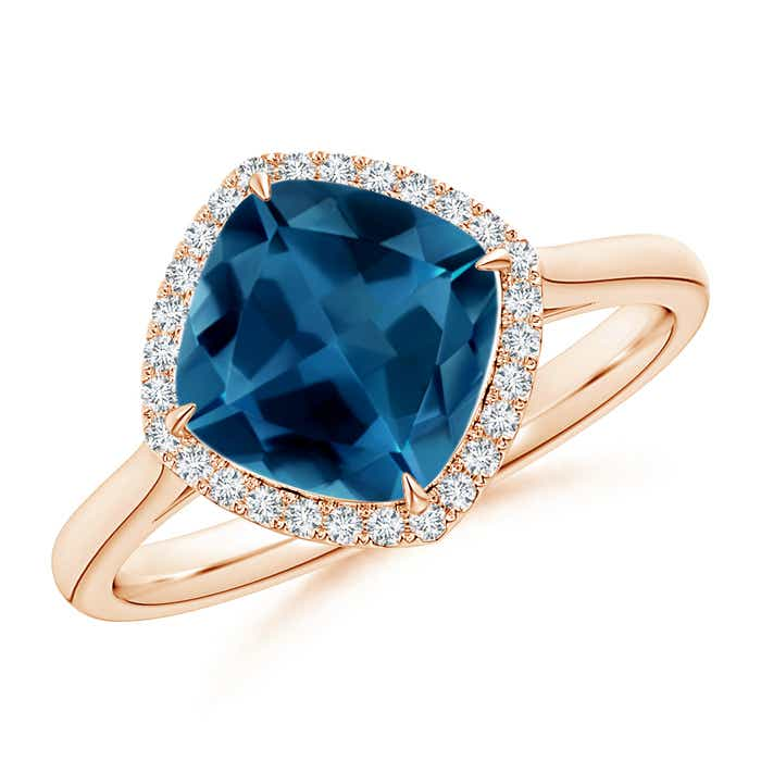 Angara Cushion London Blue Topaz and Diamond Ring in Rose Gold 35gc5N