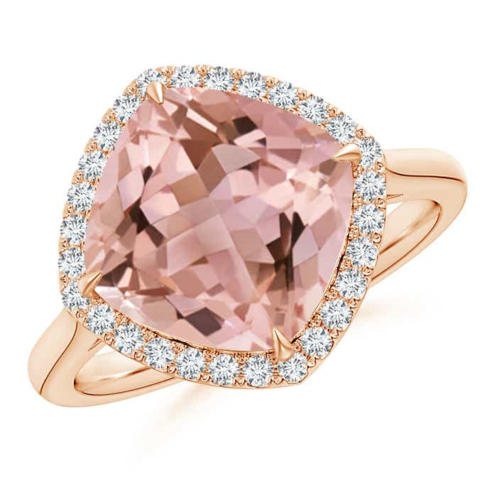 Angara Morganite and Pink Tourmaline Crossover Ring with Halo