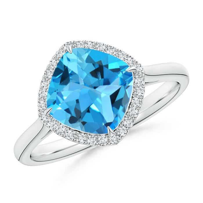 Angara Art Deco Inspired Cushion Swiss Blue Topaz Ring with Diamond Halo 5Wt8GM9Qj