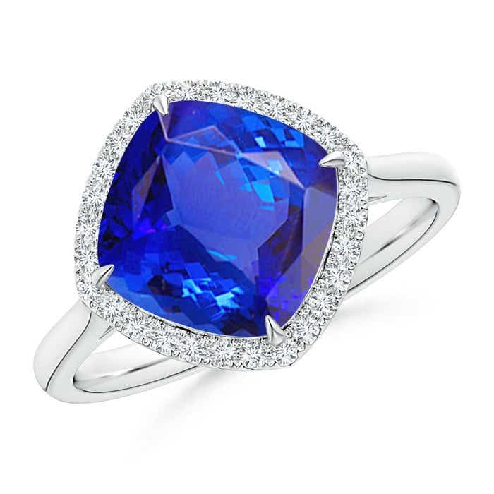 Angara Claw Tanzanite and Diamond Halo Ring in Rose Gold Bsnms
