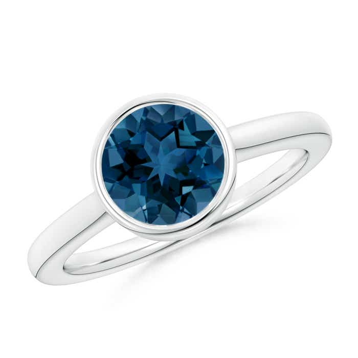 Angara Solitaire London Blue Topaz Engagement Ring in Platinum XlW1engtb