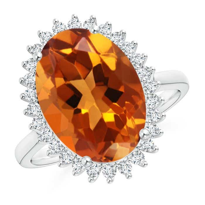 Angara Vintage Diamond Floral Halo Oval Citrine Cocktail Ring