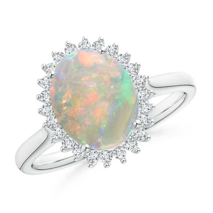 Angara Oval Opal and Diamond Floral Vintage Ring in Platinum h3Yc5