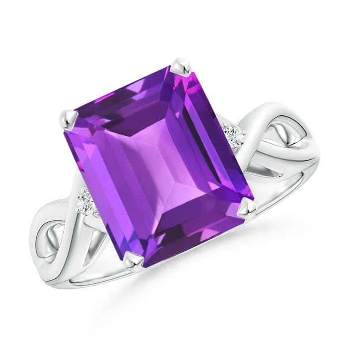 Angara Emerald-Cut Amethyst Diamond Engagement Ring in Rose Gold