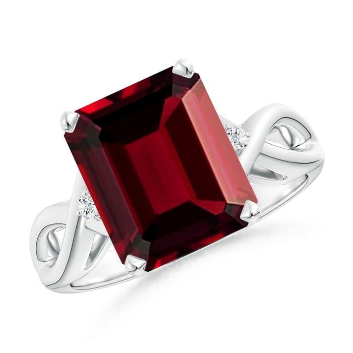 Angara Twist Shank Emerald-Cut Garnet Statement Ring in White Gold AFOQAaav