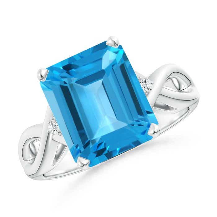 Angara Emerald-Cut Swiss Blue Topaz Ring in Rose Gold TkvTFJ3