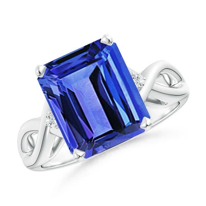 Angara Solitaire Emerald-Cut Blue Sapphire Infinity Twist Ring with Diamond QOvxE