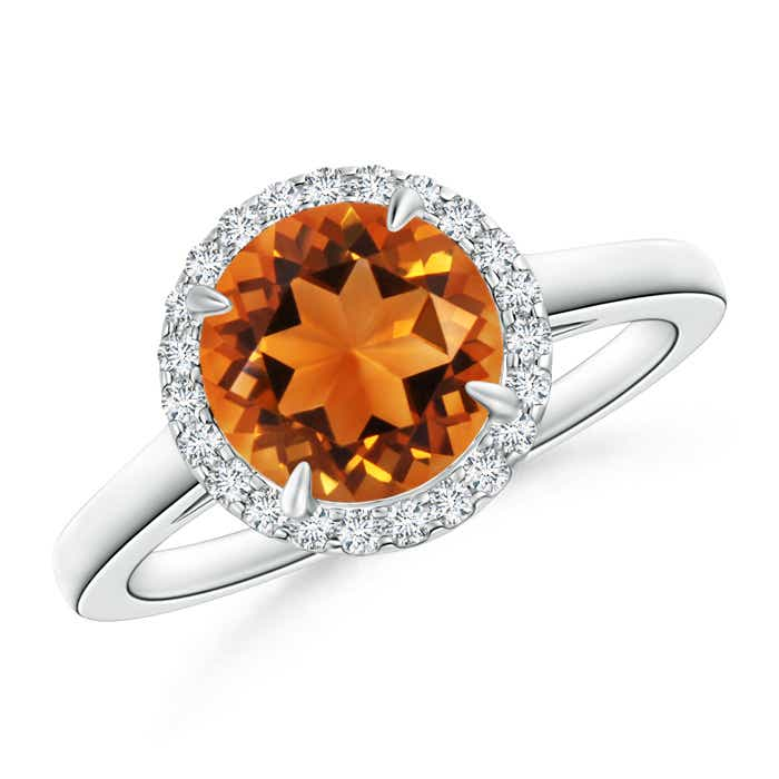 Angara Claw Citrine and Diamond Halo Cathedral Ring in Yellow Gold
