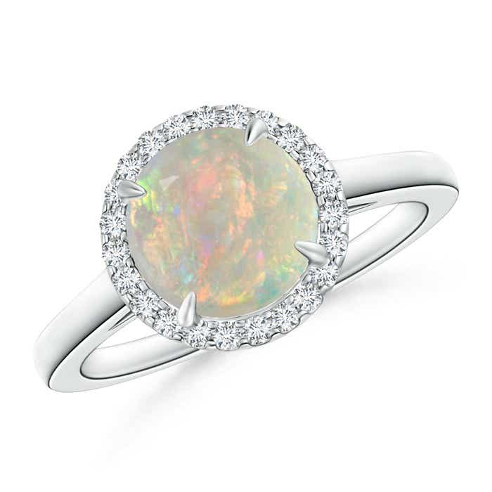 Angara Claw Cabochon Opal and Diamond Halo Ring in Yellow Gold
