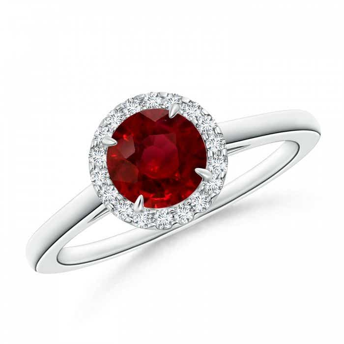 Angara Heart Ruby Solitaire Ring with Diamond in White Gold
