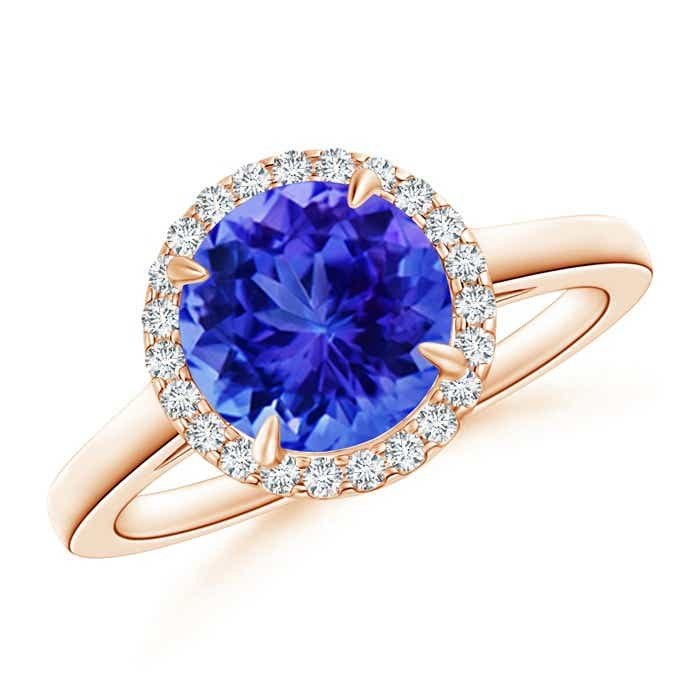 Angara Claw Tanzanite and Diamond Halo Cathedral Ring in Yellow Gold fqdX5q
