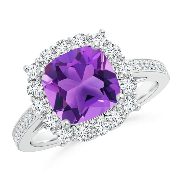 Angara Cushion Amethyst Cocktail Ring with Diamond Accents in Platinum