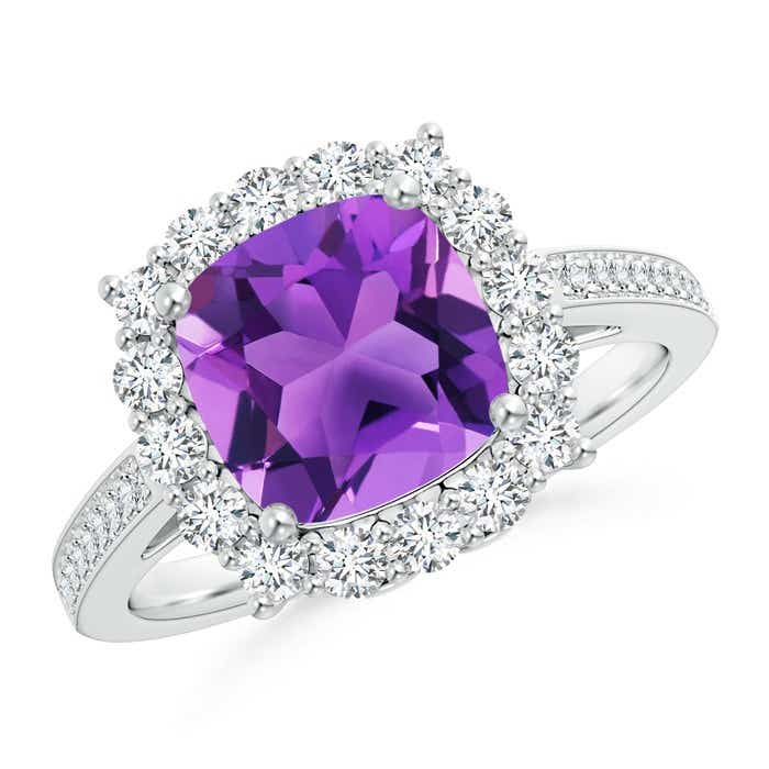 Angara Cushion Amethyst Diamond Cocktail Ring in Platinum Tggn6