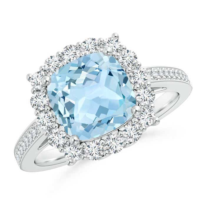Angara Cushion Aquamarine Cocktail Ring with Diamond Accents in Platinum OMq8LRAfw