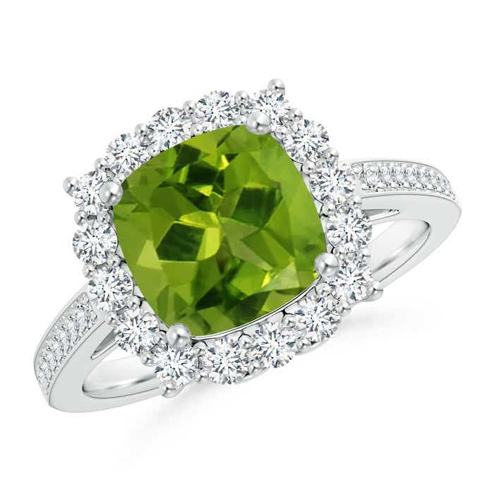 Angara Cushion Peridot and Diamond Ring in 14k White Gold K9Tm5
