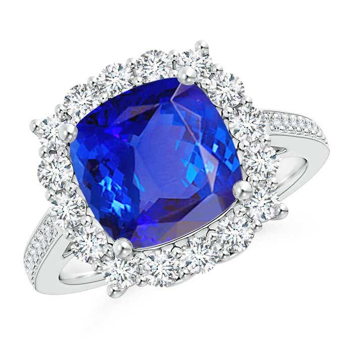 Angara Cocktail Ring with Cushion Tanzanite in Platinum X6LPbogqW