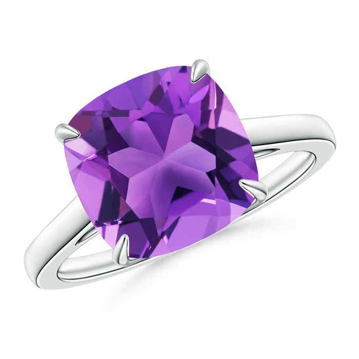 Angara Double Prong-Set Cushion Amethyst Cocktail Ring in Platinum PjQ0EL