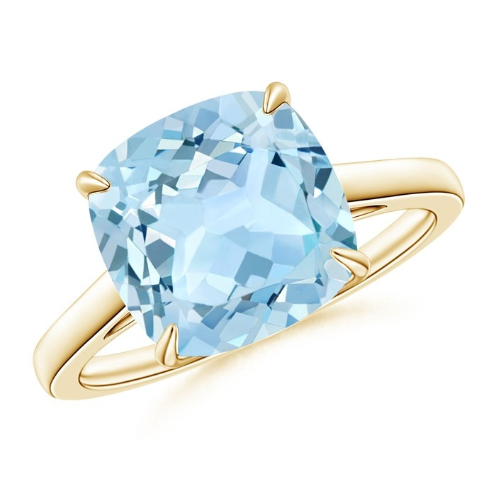 Angara Double Prong-Set Cushion Aquamarine Cocktail Ring in Yellow Gold dF1J4xyads