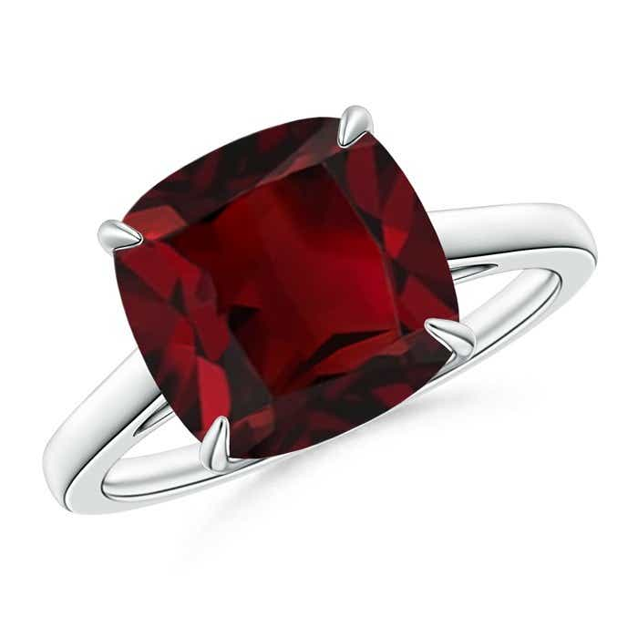 Angara Cushion Ruby Diamond Halo Engagement Ring in White Gold