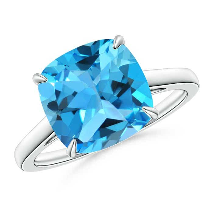 Angara Cushion Swiss Blue Topaz Solitaire Ring in Rose Gold