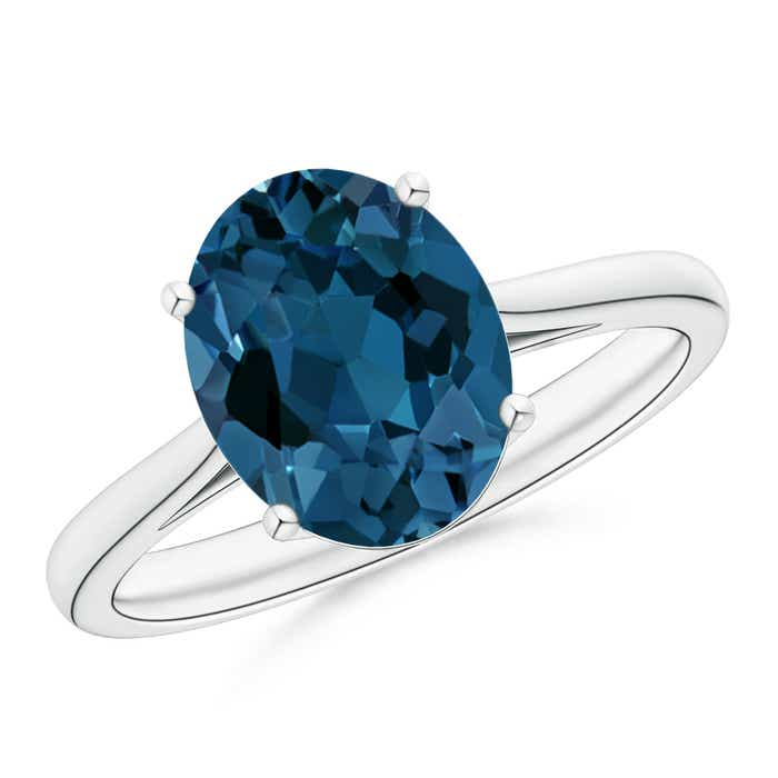 Angara Oval London Blue Topaz Cocktail Ring in White Gold