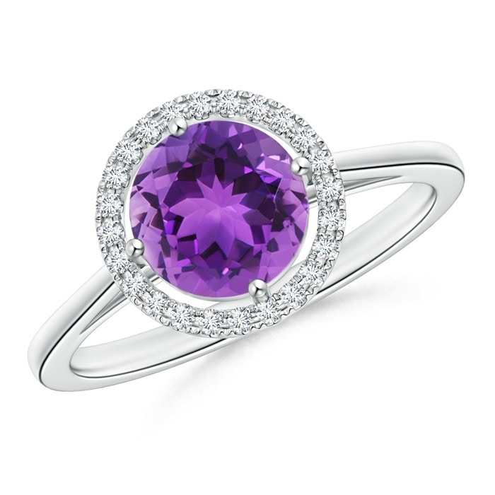 Angara Floating Amethyst and Diamond Halo Antique Style Ring in Rose Gold