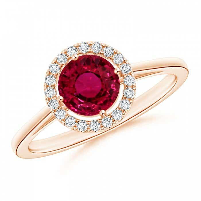 Angara Natural Ruby Halo Ring in Rose Gold T14pXIJ1