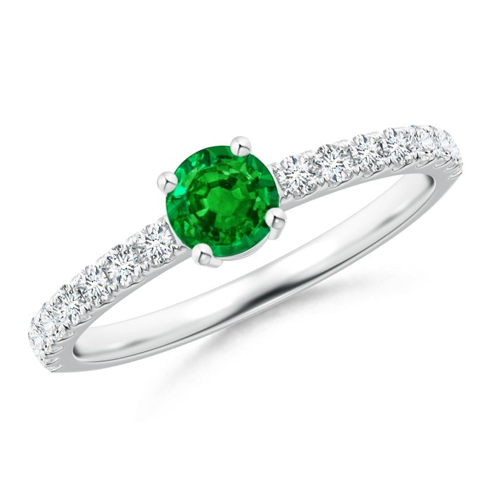 Angara Classic Solitaire Emerald Ring With Diamond Accents Yellow Gold TdfhqmS
