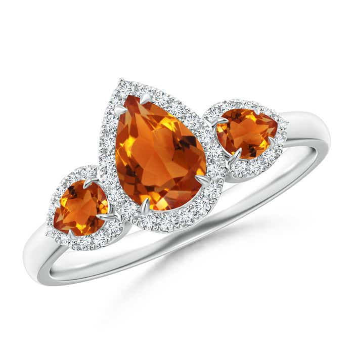 Angara Claw-Set Pear Citrine and Diamond Halo Three Stone Ring in White Gold i4cIqGw15