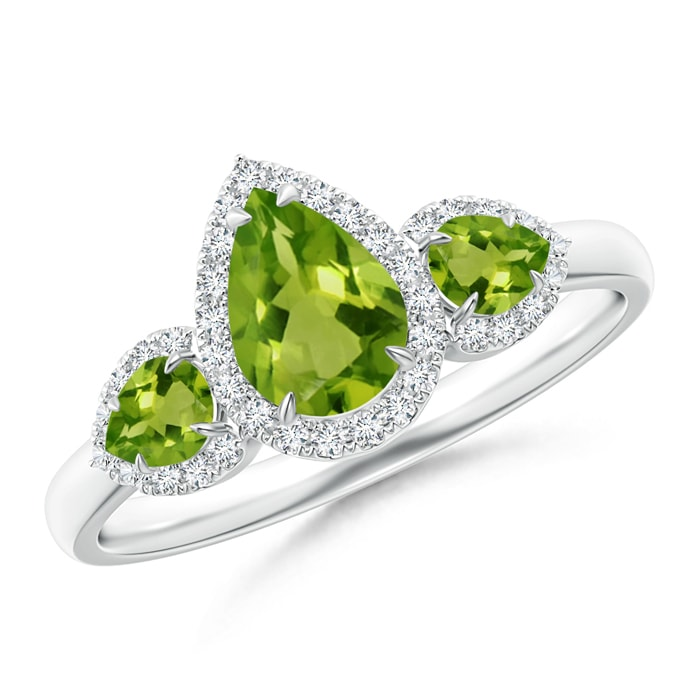 Angara Round Peridot Three Stone Halo Ring with Diamonds m3qfHlJeZ7
