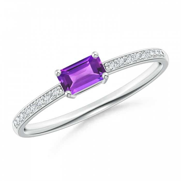 Angara East West Emerald-Cut Amethyst Solitaire Ring in White Gold VHihI5