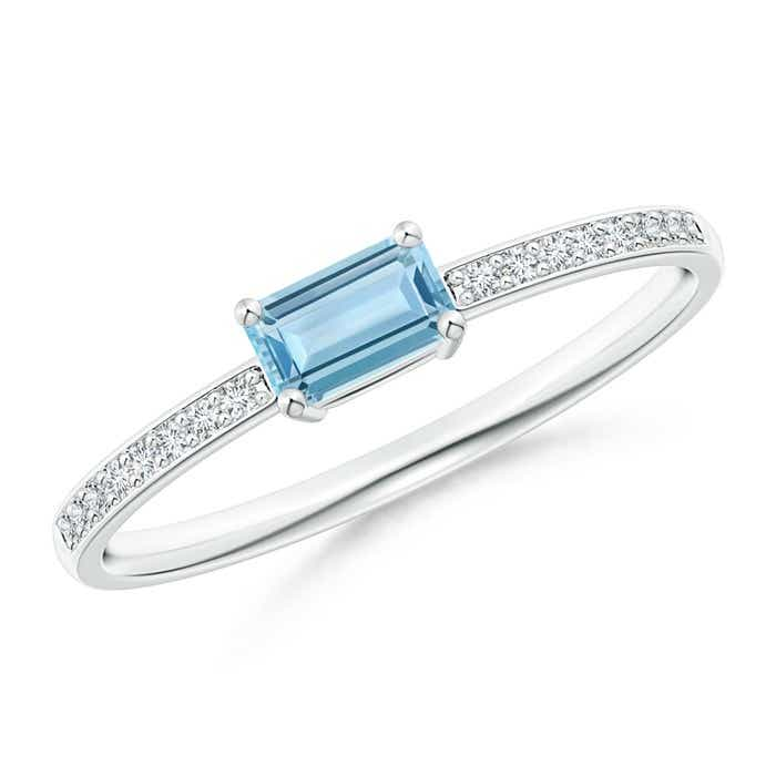 Angara Aquamarine Ring - Emerald-Cut Aquamarine Crossover Ring with Diamond Accents Zk7AhWGywM