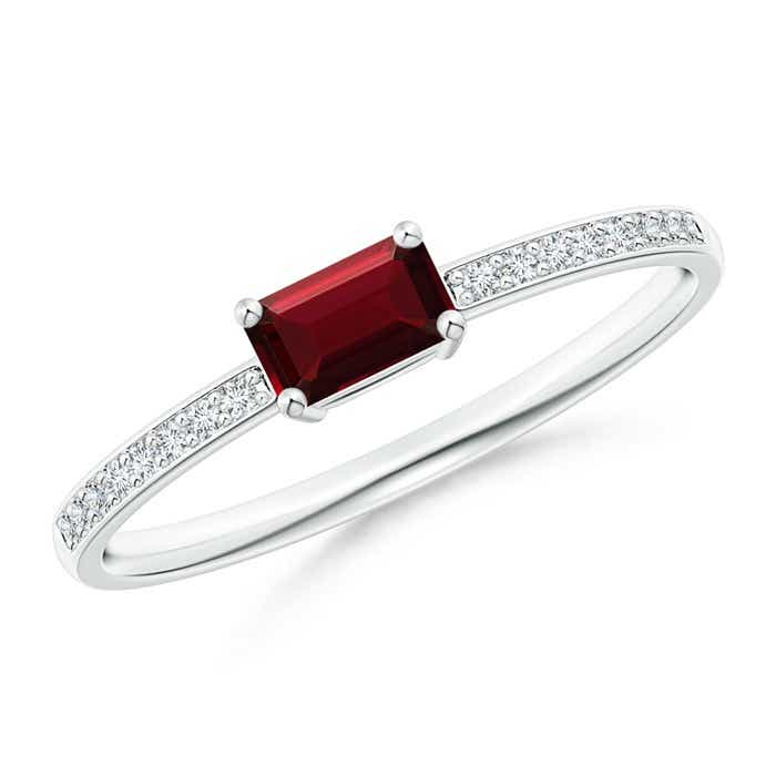 Angara East West Emerald-Cut Garnet Solitaire Ring in White Gold